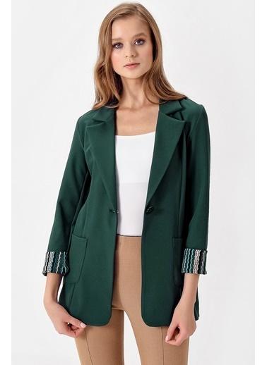 Jument Yakalı Cepli Uzun Kol Katlamalı Ceket Yeşil